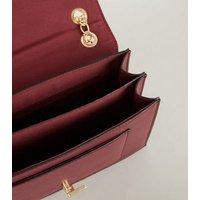 Burgundy Leather-Look Faux Croc Shoulder Bag New Look Vegan