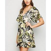 AX Paris Black Tropical Floral Wrap Dress New Look