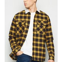 Yellow Check Borg Lined Shacket New Look