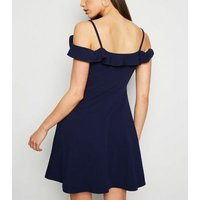 Mela Navy Cold Shoulder Ruffle Dress New Look