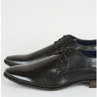 Black Leather-Look Lace Up Formal Shoes New Look