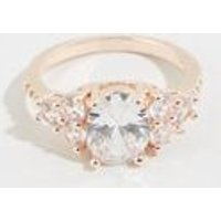 Rose Gold Cubic Zirconia Oval Ring New Look