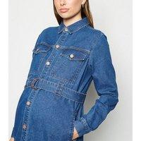Maternity Blue Denim Shirt Dress New Look