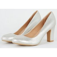 Wide Fit Silver Shimmer Block Heel Courts New Look