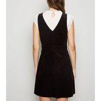 Black Corduroy Wrap Pinafore Dress New Look