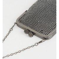 Black Diamanté Clip Top Pouch Shoulder Bag New Look