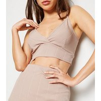 Stone Ribbed Bustier Bralette New Look