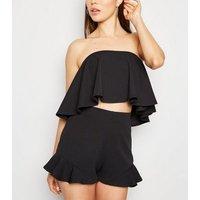 Black Ruffle Bandeau Crop Top New Look