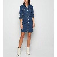 Tall Blue Button Up Bodycon Denim Dress New Look