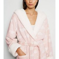 Pink Cloud Fluffy Hooded Dressing Gown New Look