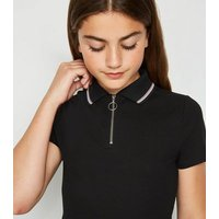 Girls Black Tipped Zip Up Polo Top New Look