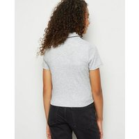 Girls Grey Tipped Zip Up Polo Top New Look