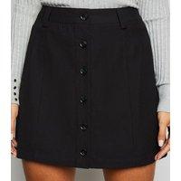 JDY Black Button Front Mini Skirt New Look