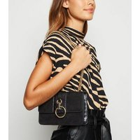 Black Suedette Faux Croc Panel Shoulder Bag New Look Vegan