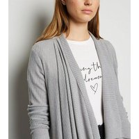 Pale Grey Ribbed Fine Knit Waterfall Cardigan New Look