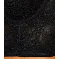 Black Lace Zip Front Longline Bra New Look