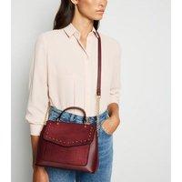 Burgundy Stud Shoulder Bag New Look Vegan
