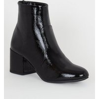 Black Crinkle Patent Heeled Ankle Boots New Look Vegan