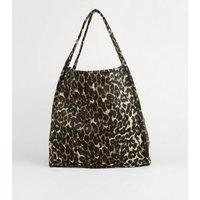 Black Leopard Print Felt Tote Bag New Look