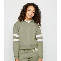 Girls Olive Stripe Sleeve Hoodie New Look
