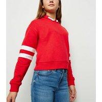 Girls Red Stripe Sleeve Hoodie New Look