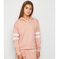 Girls Pale Pink Stripe Sleeve Hoodie New Look
