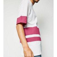 Bright Pink Neon Colour Block Stripe T-Shirt New Look