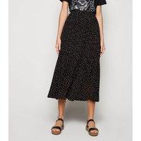 Black Spot Print Pleated Midi Skirt New Look
