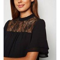 Black Chiffon Lace Panel Short Sleeve Blouse New Look