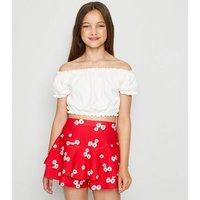 Girls Red Daisy Frill Trim Skort New Look