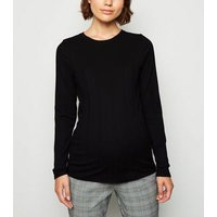 Maternity Black Ribbed Long Sleeve Top New Look