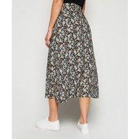 Petite Black Floral Wrap Midi Skirt New Look