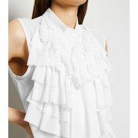 Cameo Rose White Ruffle Sleeveless Blouse New Look