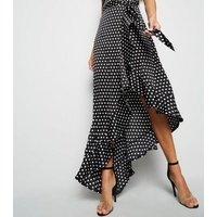 Tall Black Spot Satin Ruffle Hem Maxi Dress New Look