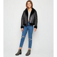 Girls Black Leather-Look Aviator Jacket New Look