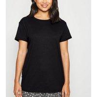 Petite Black Organic Cotton Roll Sleeve T-Shirt New Look