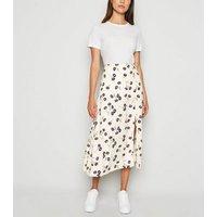 Cream Daisy Floral Side Split Midi Skirt New Look