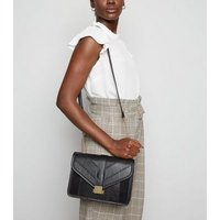 Black Leather-Look Chain Shoulder Bag New Look