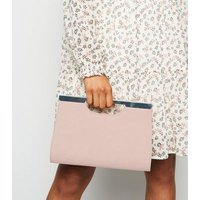 Pale Pink Suedette Clutch Bag New Look