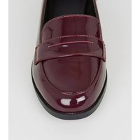Girls Burgundy Patent Penny Loafers New Look