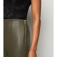 Olive Coated Leather-Look Leggings New Look Vegan