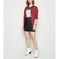 Black Coated Leather-Look Denim Mini Skirt New Look