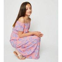 Girls Pink Floral Bardot Maxi Dress New Look