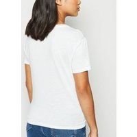 Petite White Tie Front Jersey T-Shirt New Look