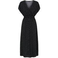 Black Spot Shirred Waist Wrap Midi Dress New Look