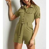 Cameo Rose Khaki Utility Playsuit New Look