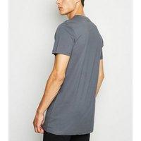 Dark Grey Crew Neck Longline T-Shirt New Look