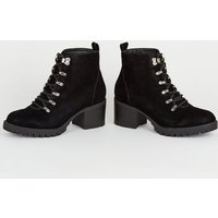 Wide Fit Black Mid Heel Hiker Boots New Look