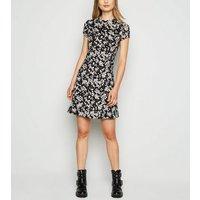 Black Floral Jersey Skater Dress New Look