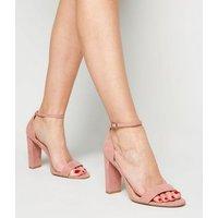 Extra Wide Fit Pale Pink Suedette Block Heels New Look Vegan